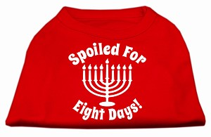 Spoiled for 8 Days Screenprint Dog Shirt Red Sm (10)